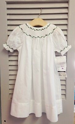 NWT Strasburg Smocked Embroidered Beaded Christmas Holiday White Dress 18 Months