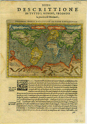 1621 Genuine Antique map World. Quivira. Huge S Continent. Arctic Islands Magini