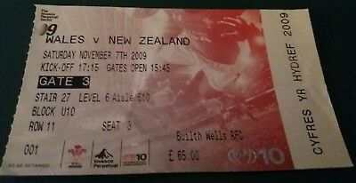Wales Rugby Union Used Ticket Stub Wales V New Zealand 7 November 2009