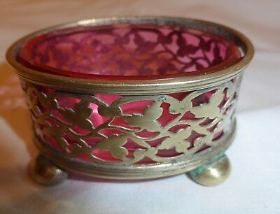 Silver Plate Salt/ Mustard Dish With Liner.