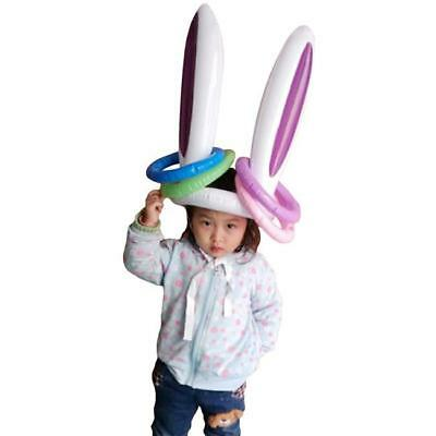 Inflatable Easter Bunny Rabbit Ears Hat & Ring Toss Easter Birthday Party Game B