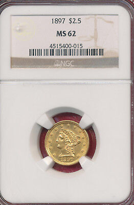 1897 Gold $2.50 Liberty Head Quarter Eagle **ngc Certified Ms 62** Nice Gold!