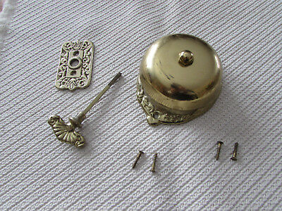 Vintage Brass Victorian Door Bell, Manual, Twist, Ornate, Antique Door bell set