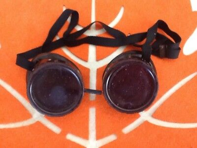 Vintage Welding Goggles~ Brown Frames & green LENSES steampunk SHIPS FREE