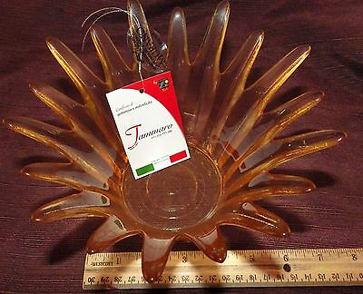 NEW Murano Art Glass Vase Bowl Amber Gold Made in Italy ~ Tammaro Home