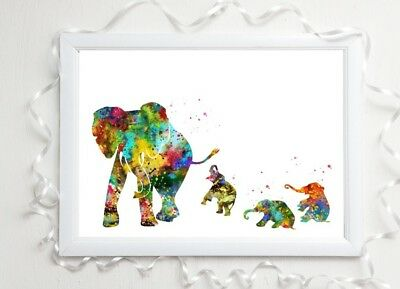 elephant family gloss Print a4 paint splat picture unframed watercolour nursery