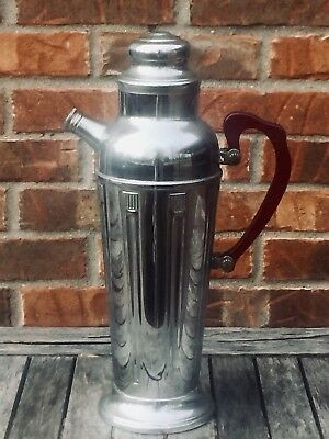 Vtg c.1930's Art Deco Cocktail Shaker/Pitcher Stainless Chrome Bakelite Handle
