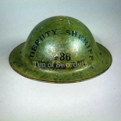 Old Maine WWI Green Deputy Sheriff Helmet with Liner