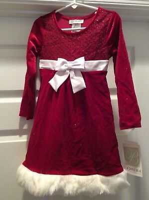 SALE NEW Bonnie Jean Toddler Sequin Red and White Holiday Dress with Faux Fur 4T