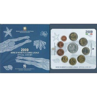 2009 Italy Serie Divisional Euro - Ipzs - 10 Coins Fdc With Silver