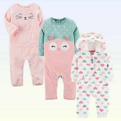 1fa56dbe8 Baby Girls Fleece Coverall Carters Dot-Print Owl Heart-Print Pink Cat White  1Pc