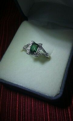 .925 Sterling Silver Ring Lab-Created Emerald, Cubic Zirconia, Size 5