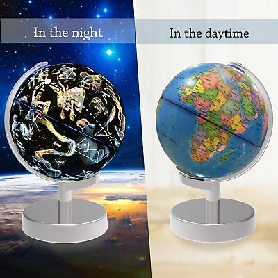 Illuminated World Globe and Star Constellations View Educational Geographic NEW