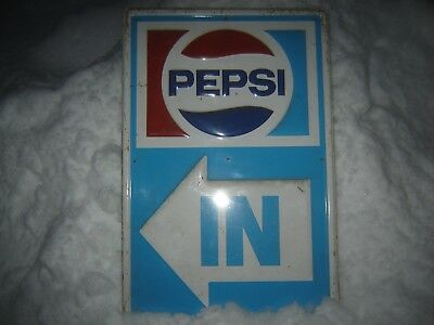 Vintage 1971 Pepsi Sign Embossed Heavy Metal  Rare Original