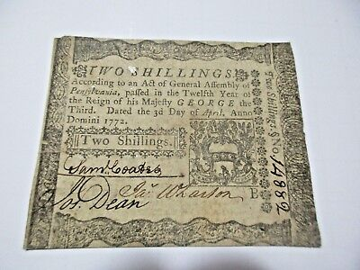 Colonial Currency Pennsylvania 1772, 2 shillings, Very Fine- Ext Fine