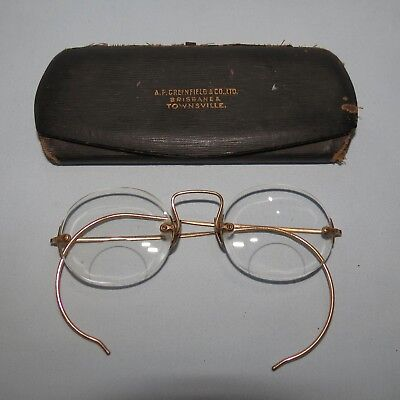 Vintage Spectacles Bifocals Gold Plated Frames Original Case Greenfield And Co