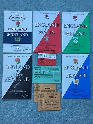 1970s RUGBY PROGRAMMES AND TICKETS - England, France, Wales, NZ