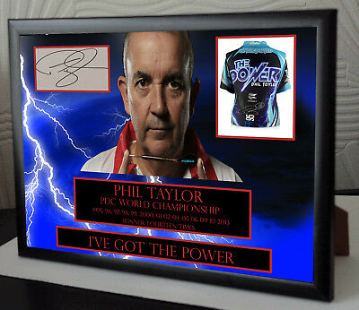 """Phil Taylor """"The Power"""" Darts Framed Canvas Print Signed """"Great Gift"""" Limited"""