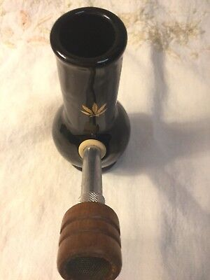 Vintage Ceramic Rare Hookah Bong pipe UNUSED Small Black And Gold