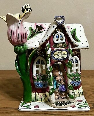 """CUDDLE BEAR COTTAGE"" t-lite Blue Sky Clayworks by Heather Goldminc TOO CUTE!!!"