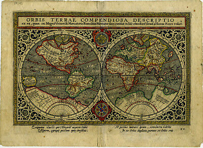 1600 Genuine Antique map early Double Hemispheres. Early color. Mercator