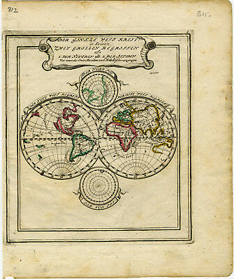 1704 Genuine Antique Double Hemisphere map of the World. by G. Bodenehr