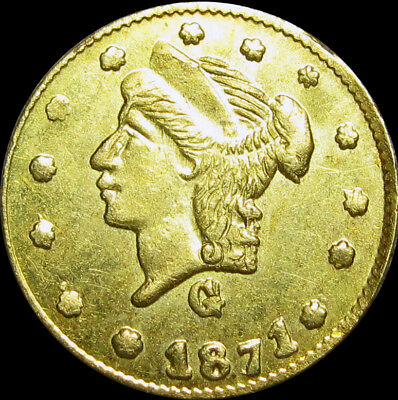 1871-G Fractional Gold Coin 1/4 Dollar Liberty Head Round  --- GEM BU --- #U218