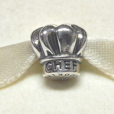 New Authentic Pandora Charm I Love Cooking Chef Hat 791500 W Tag & Suede Pouch