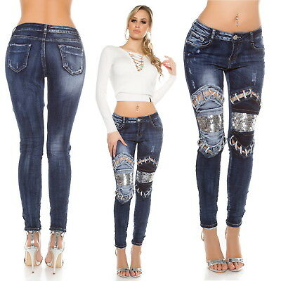 Women's Sequin Patch Inserts Stretch Slim Skinny Denim Jeans - XS/S/M/L/XL