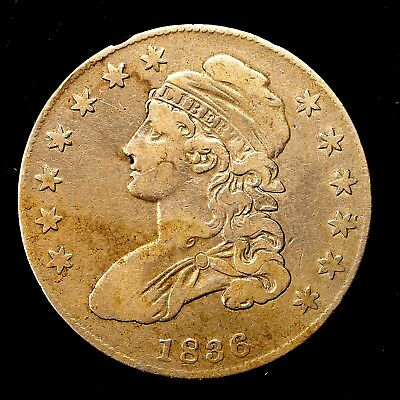 1836 ~**BETTER GRADE**~ Silver Capped Bust Half Dollar Antique US Old Coin! #968