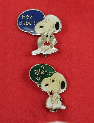 SNOOPY Peanuts Vintage 1956 Lot of 2 Collectible Aviva Pins Hey Babe and Bleh