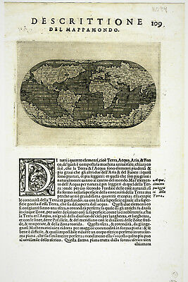 1572 Genuine Antique map World. First Edition. Huge South Continent. Porcacchi