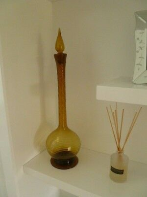 Vintage Tall Amber Glass Decanter