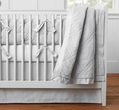 New Pottery Barn Baby Toddler Washed Velvet Collection Quilt Blanket Crib Gray
