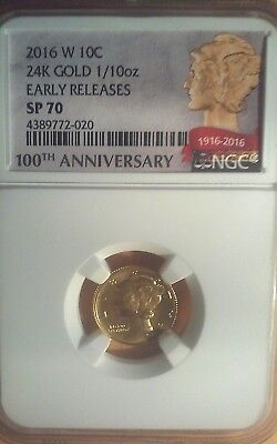 "2016 W 24K Gold ""mercury Dime""  Early Releases Sp 70"