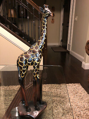 Beautiful Hand Carved Painted Giraffe Wood Sculpture Figure From Africa