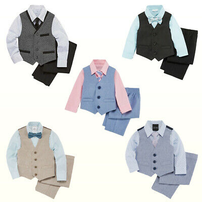 NWT NEW TFW Baby/Little Boys 4-pc Vest Set Shirt Tie Vest Pants Suit