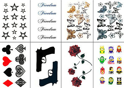 Supreme Temporary Fake Tatto Star Butterfly Gun Minions Designs Party Sticker