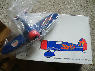 PEPSI-COLA 1993 TRAVEL AIR MYSTERY SHIP DIE CAST AIRPLANE BANK 1:32 Scale/NEW