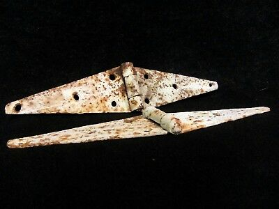 "original antique vintage rusted rustic primitive metal 12""barn door strap hinges"
