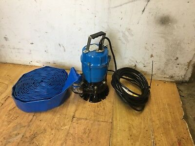 TSURUMI SUB PUMP NEW 110V 50mm HS2.4S-52  WATER SUCTION SUBMERSIBLE + HOSE