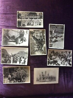 8 Antique India Postcards 7 Real Photos Christmas Day Madras Native People Kids