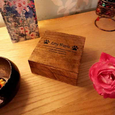 17cm 17cm x 8cm Mango Wooden Pet Urn For Ashes Dog Personalised Cremation Box
