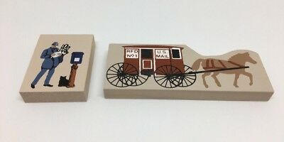 Cat's Meow Village  Accessory Set of 2 Horse Drawn US Mail Wagon / Mailman