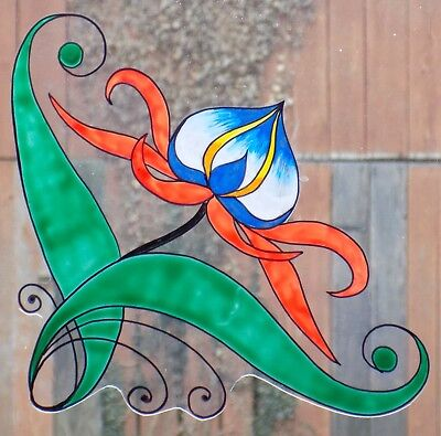 Wicoart Window Color Sticker Cling Faux Stained Glass Art Deco Corner Fleur