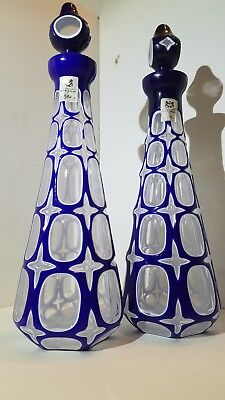 Ajka Wine Decanters, Clear Cased in Cobalt Blue, Cut to Clear