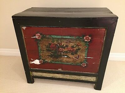 Gorgeous Antique Painted and Lacquered Chinese Side Cabinet