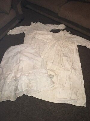 Victorian 1900,s Night Gown Vintage Clothing Attic Find + Underskirt Cotton @nr