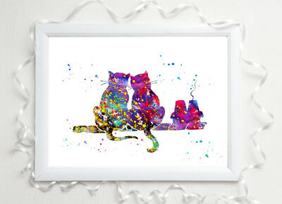 cat family Print in love glossy  poster a4 paint splat picture poster unframed