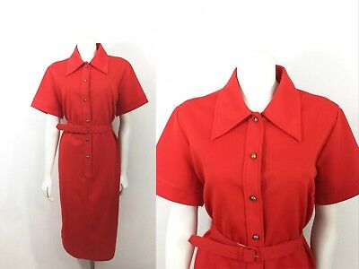 Vintage 60s Dress Red GoGo Twiggy Shift Mid Century Mod Belted Dress Holiday